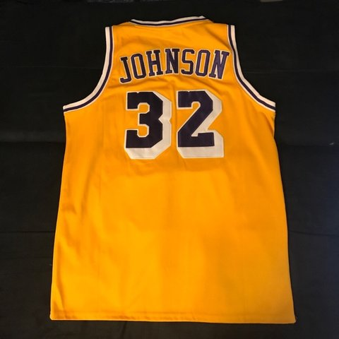 49086179812 Magic Johnson Los Angeles Lakers LA gold NBA jersey. Has a I - Depop