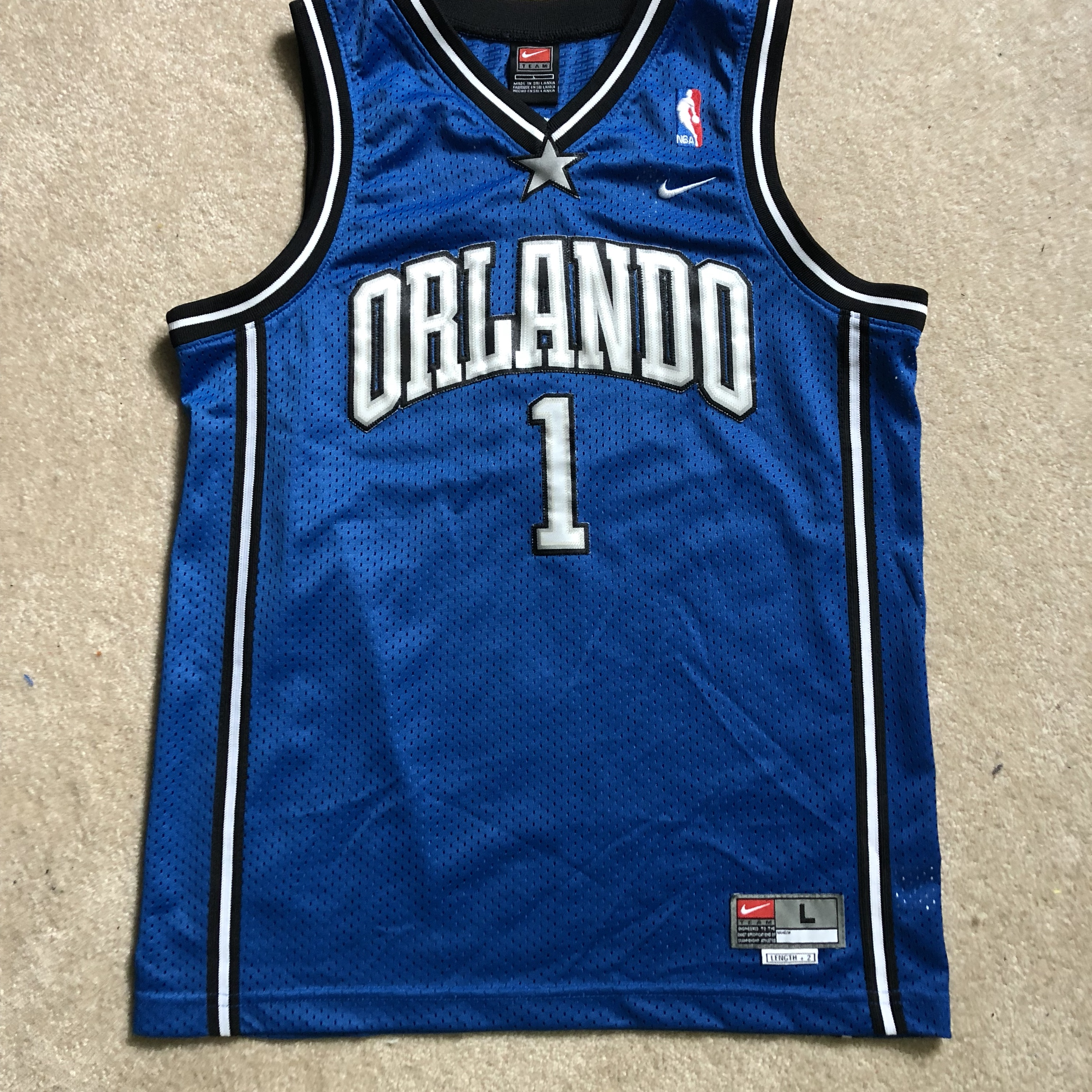 info for e2a1f e8f2c Vintage Nike NBA Tracy McGrady Jersey Kids/women's... - Depop