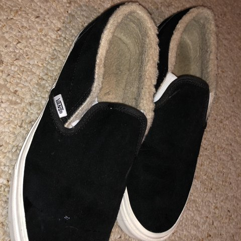 Worn Once! Black Vans with fur on the