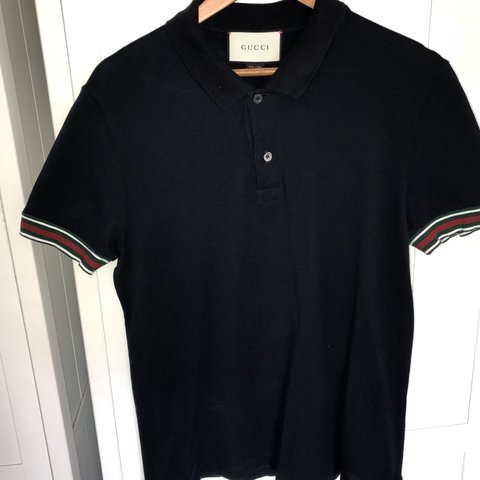 39081165332f Men s Gucci Striped Sleeve Polo Shirt Navy Size XL Paid £295 - Depop