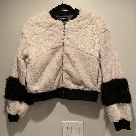 26339e0d6dbc EXPRESS nwot off white black faux fur bomber jacket