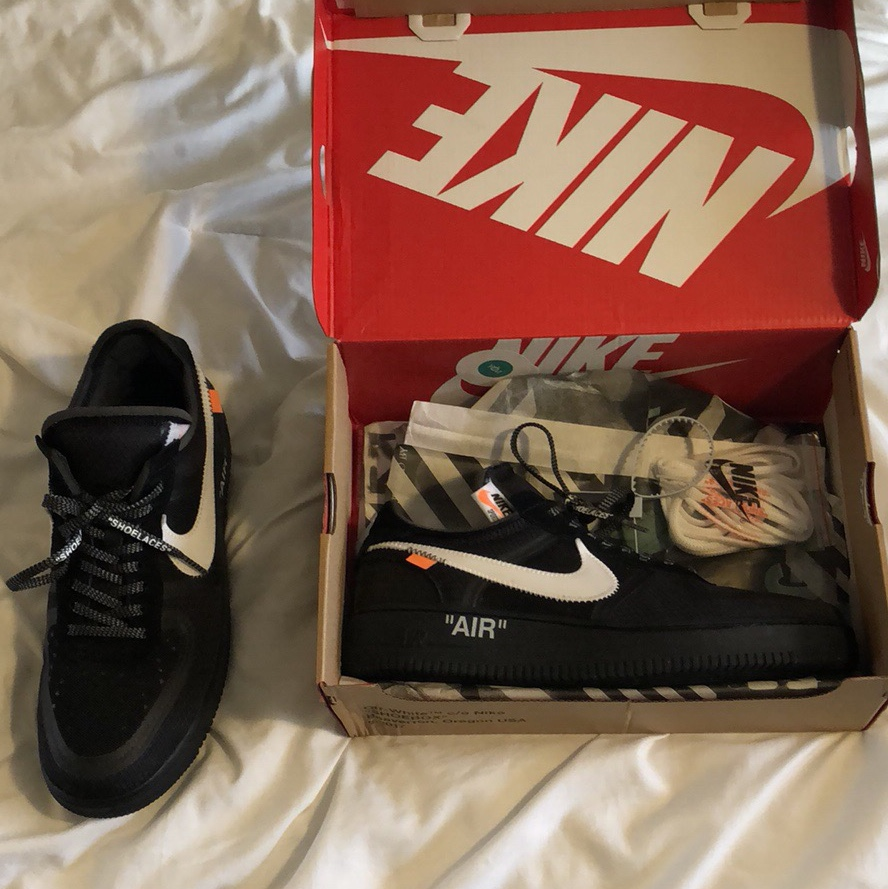 Nike Air Force 1 Low Off White Black UK 7.5 The Depop