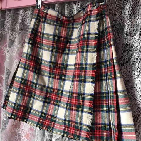 c9f0ec880c @jessierosewilliams. 2 years ago. London, United Kingdom. Vintage 90s white  and red tartan skirt. Wrap around style - flat front, pleated back.