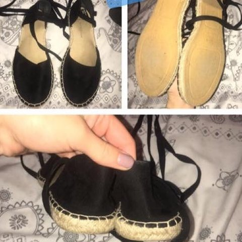 a05c9a30785 Black Lace up the Leg espadrille Sandals from New Look Size - Depop