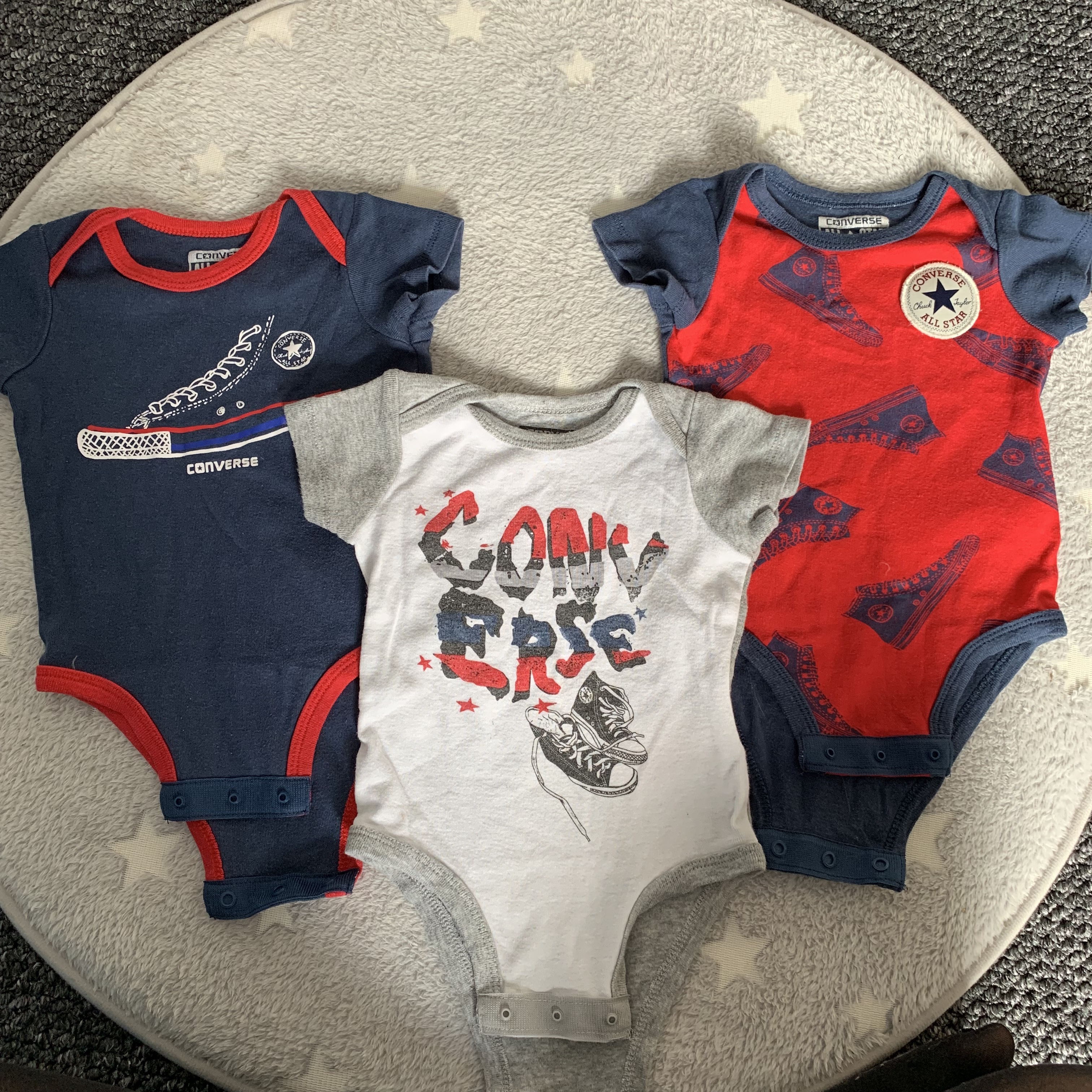 Official ALL STAR Converse 3 Piece Infant Baby Grow Set 3-6 Months Baby Bodysuit