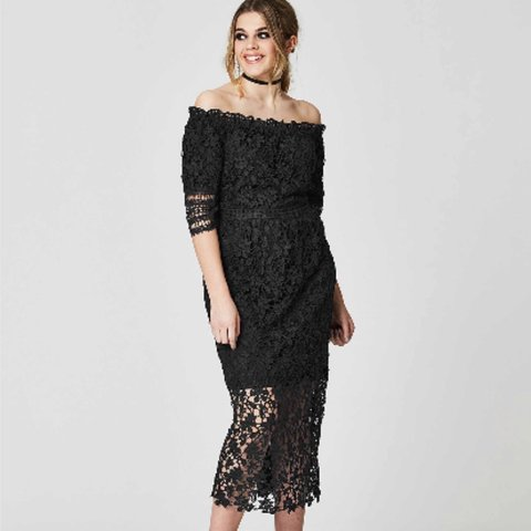 a4f82f08fba8 Simply be black lace Bardot dress