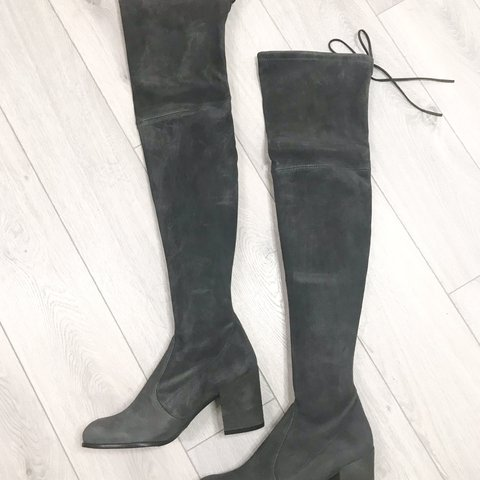 ebbd578cf1d4 New Tieland Stuart Weitzman in stretch grey suede . Almond - Depop