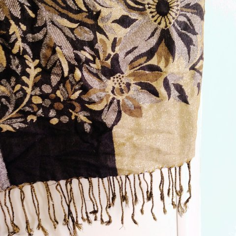 5642969ea26f Accessorize scarf / pashmina, sparkly gold and dark navy but - Depop