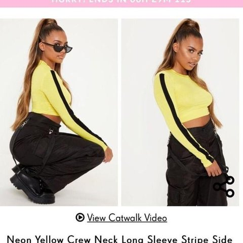 a3a7a39c036 Yellow Slogan Crop Top- couldn't find original but both are - Depop