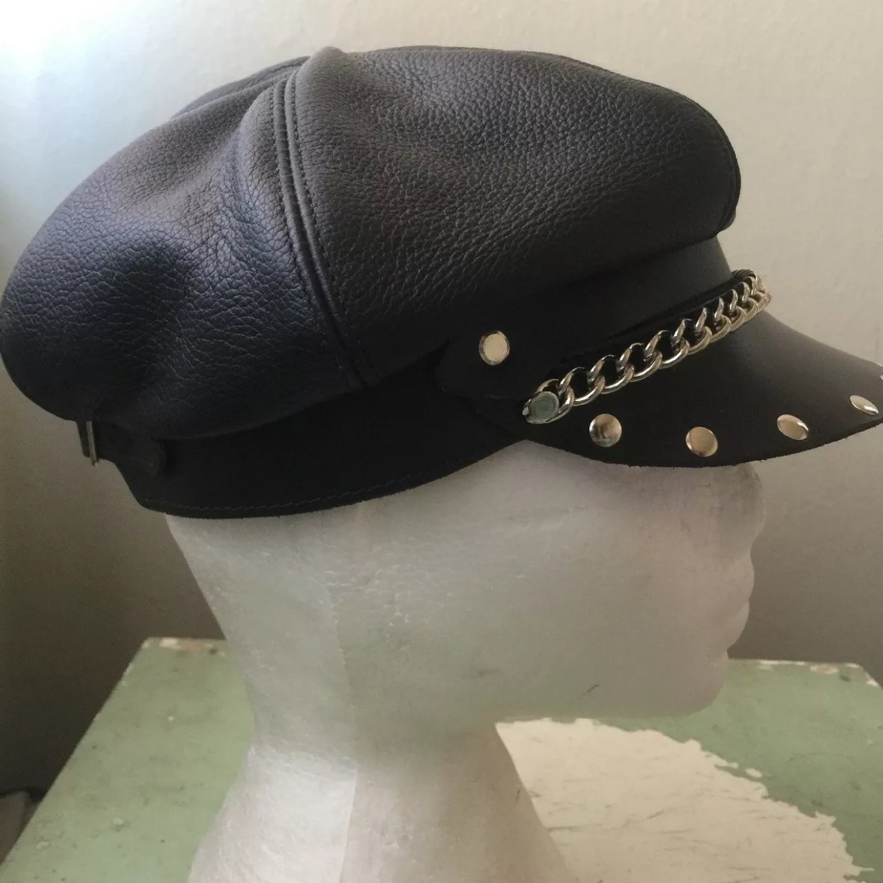 483995456d8 New Genuine leather biker hat one size chain studded heavy - Depop