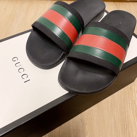 335babafb Gucci slides. Like-new and includes original box. Gucci size - Depop