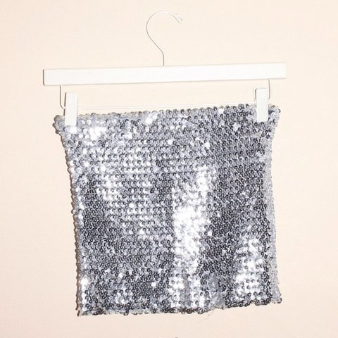 42509e7335 silver sequin tube top from a local boutique called Ruby and - Depop