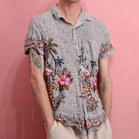 63aece9b0 Stussy vintage Hawaiian / pattern shirt. Short sleeve tribal - Depop