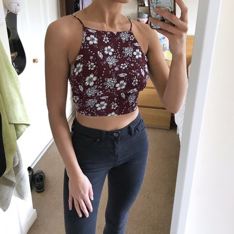 4d7e60eb1fb @maddybx. last month. New Milton, United Kingdom. Topshop Floral Tie Back  Top 🍇 Gorgeous burgundy tie back crop top with white floral pattern