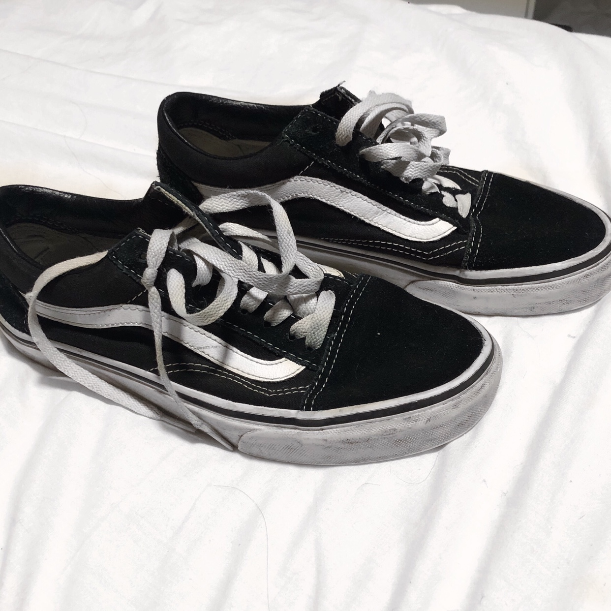 separation shoes official photos later Size 5.5 vans old skool black and white vans clearly... - Depop