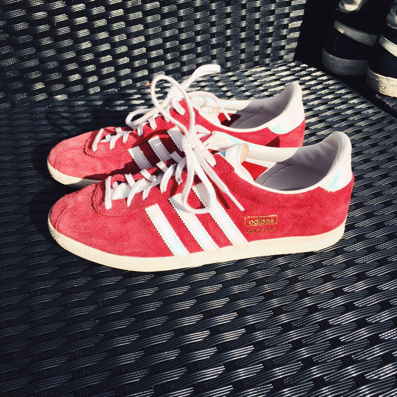 231a07f219d Adidas Gazelle trainers in red suede Great condition Size - Depop