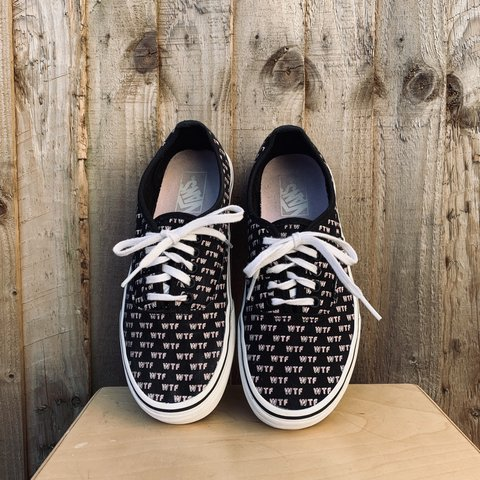"""1b6c000c62 Vans """"SAYINGS AUTHENTIC"""" • UK 6 • black   pink with WTF"""