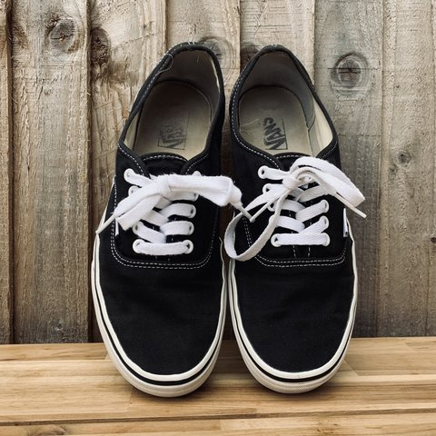 566b65c7a4a39e Classic black   white Vans Authentic Canvas • Size US 10.5 - Depop