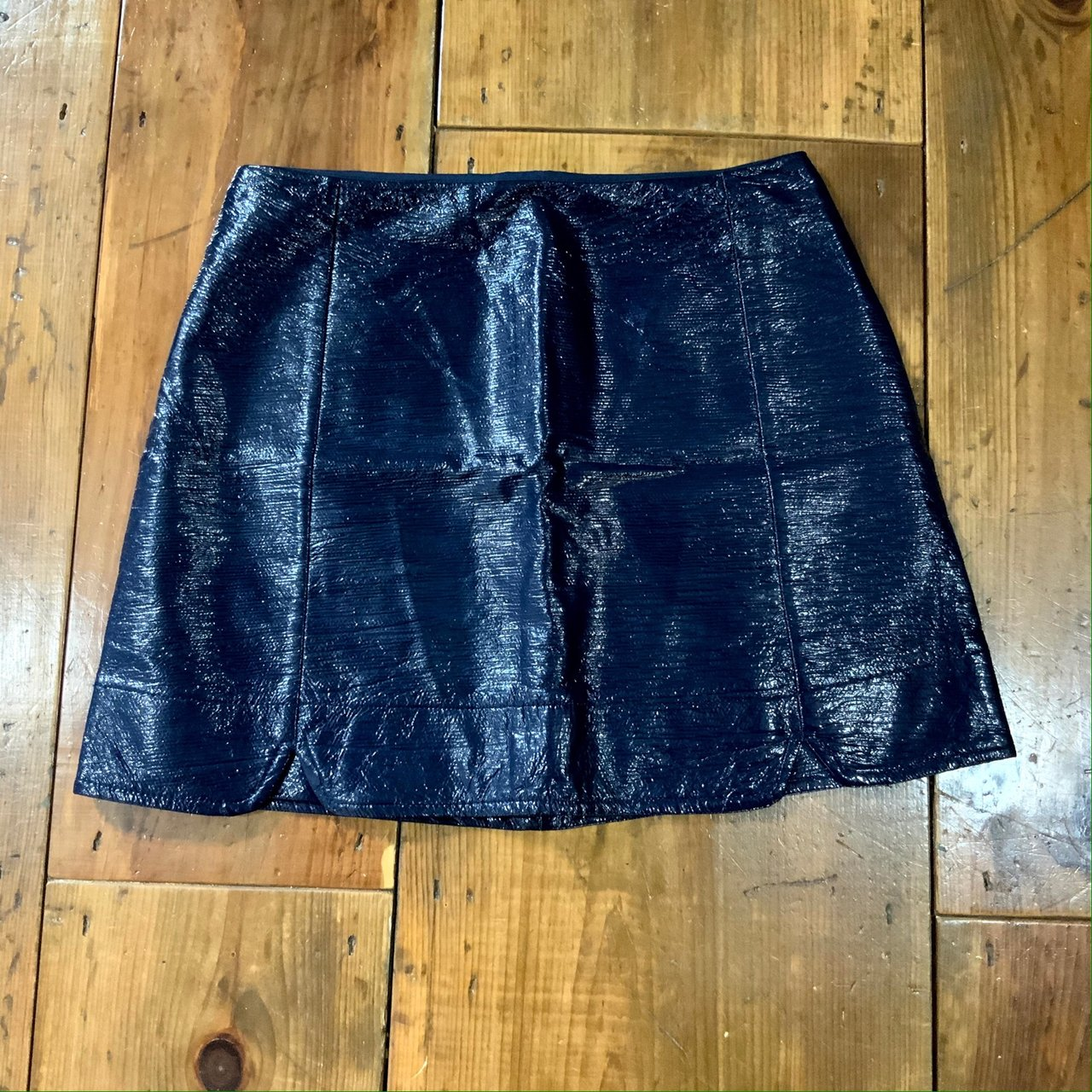 66a66018ef Navy Blue Patent Leather Skirt | Saddha