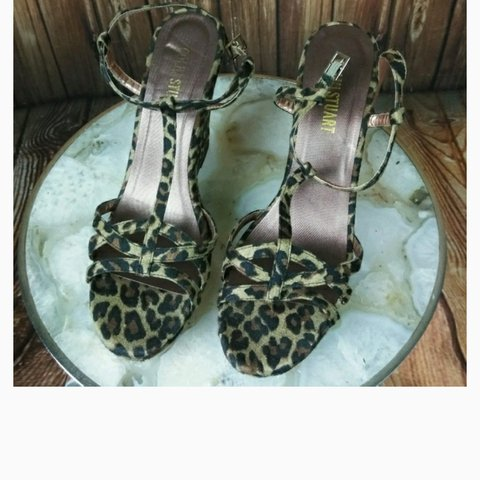 e1a26737481565 Colin Stuart cheetah wedge sandals