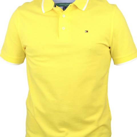 53d78781 100% genuine Tommy Hilfiger yellow polo shirt brand new with - Depop