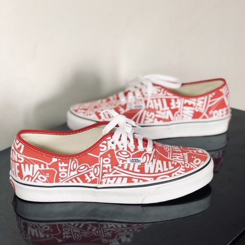 a77c54e5ab Vans Off The Wall Repeat Authentic Red   White Shipping will - Depop