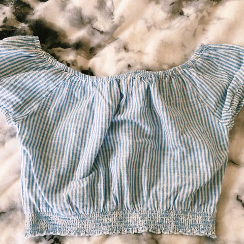 04adf502a15d1 blue and white striped crop top with bardot off the shoulder - Depop