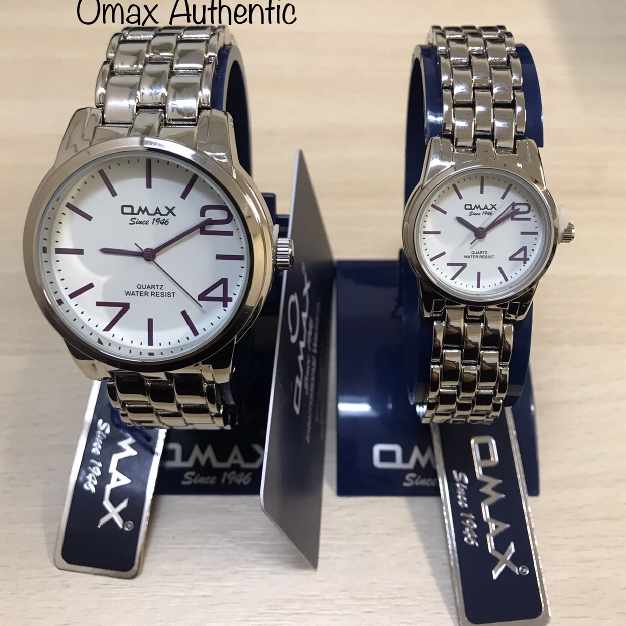 Omax Ladies & Gents Silver Dial Watches Matching Set