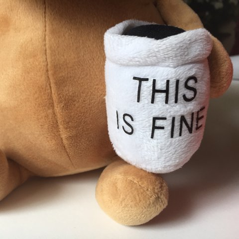 This Is Fine Dog Stuffed Animal, This Is Fine Soft Question Hound Famous Dog Plush Depop