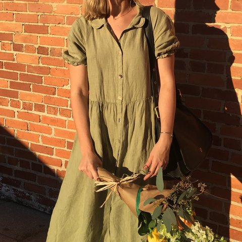 210db4eec1 Zara olive green linen button down maxi dress with puff Size - Depop