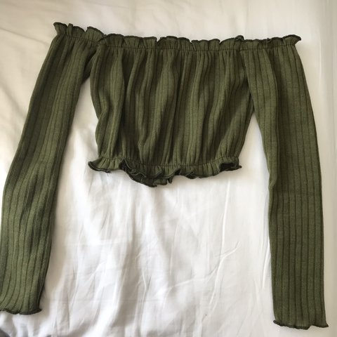 acf4528c6ad Khaki green ruched off the shoulder crop top Size small   - - Depop