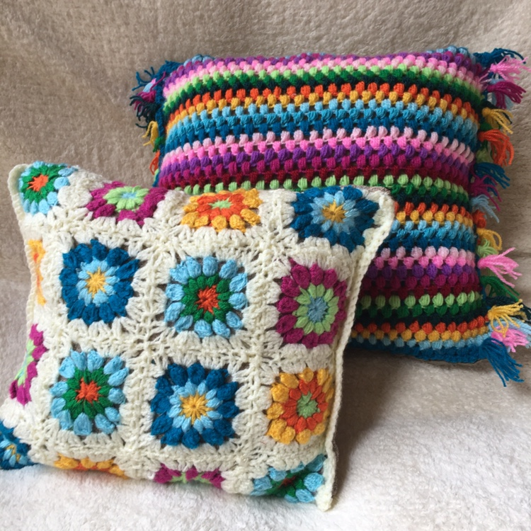 Colorful Handmade Pillows With Knit Cover Size 45 Depop