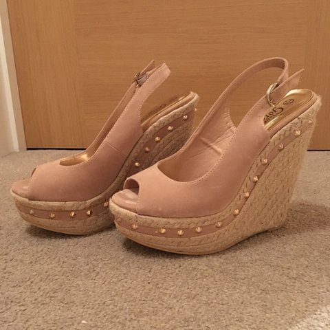 New look nude wedges, with studs on