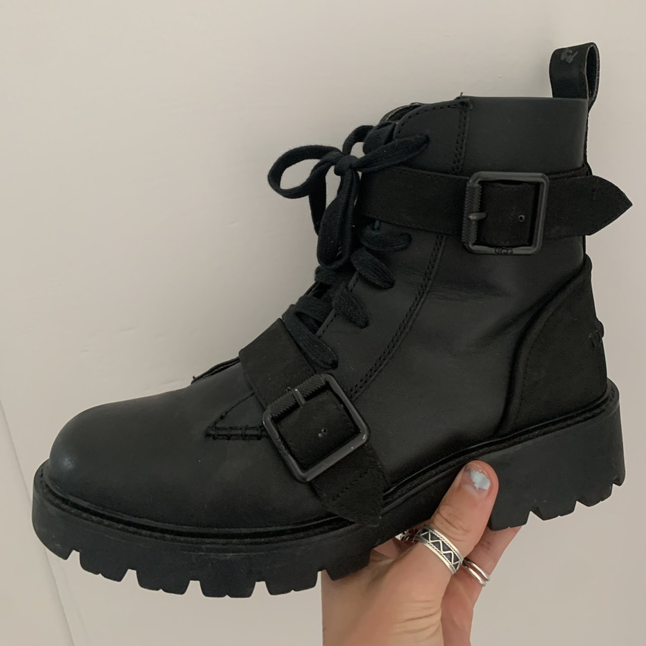 Black strap Ugg boots - laced boots