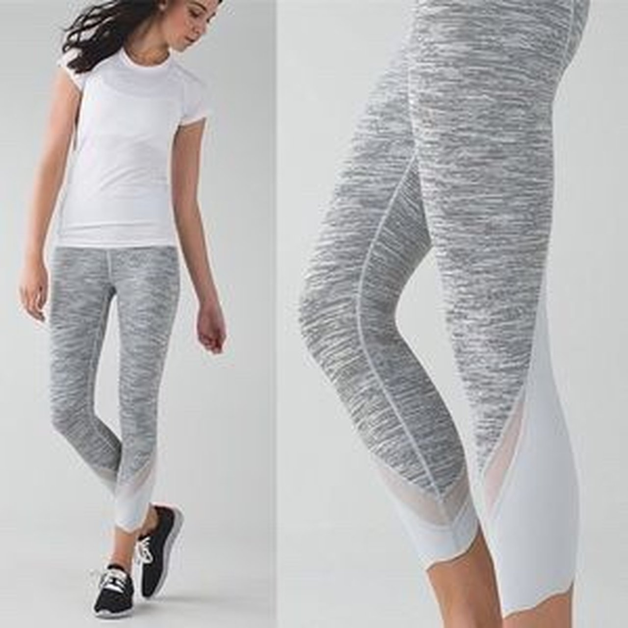 dae807159 Lululemon grey and white athletica yoga leggings Size 10 - Depop