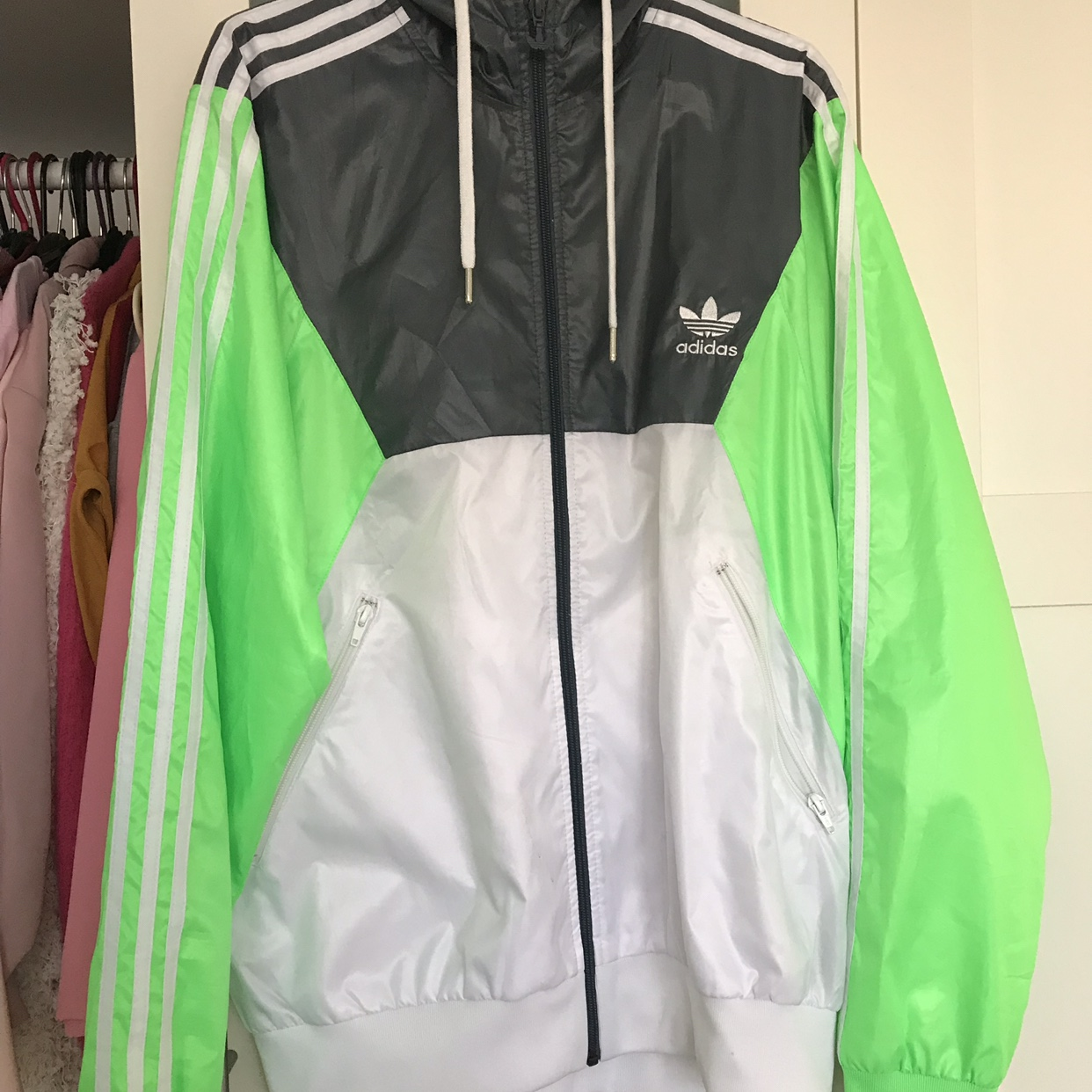 Adidas originals neon jacket Worn once so perfect Depop