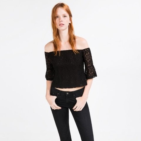9c3d5bf9956a05 @ninadewi. 10 days ago. Stanford, USA. Zara black guipure lace off the shoulder  crop top.