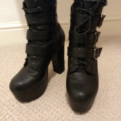 eef3a4961ce Jeffrey Campbell style Office platform ankle.boots with and - Depop