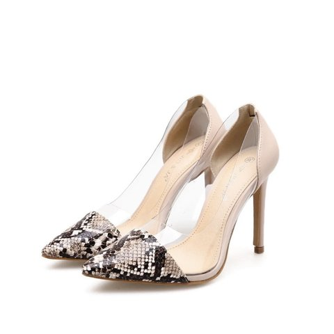 92945aefe78 NEW! Pointed Toe Snakeskin Clear Heels Available in color or - Depop