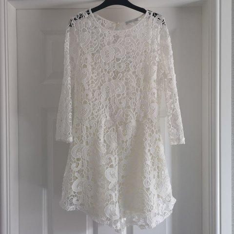 4c3a1210e2c Zara white lace playsuit with open back. Excellent worn - Depop