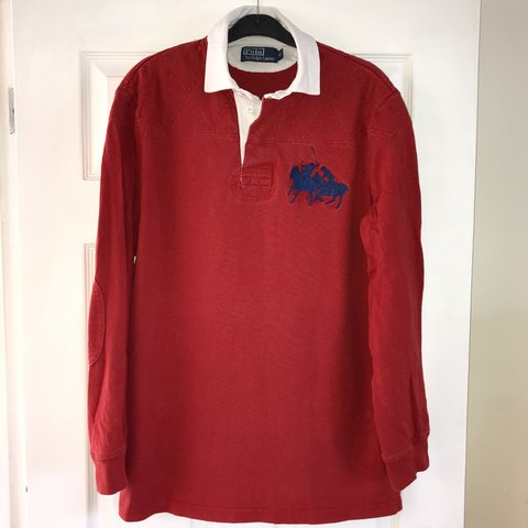 a1f6b3ef4 Men s Ralph Lauren long sleeved red polo with white collars - Depop