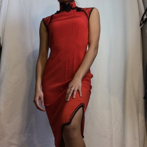 c9c0ce6fcb1 traditional bright red cheongsam. dont really know the but   - Depop