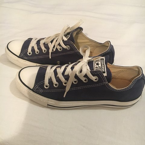 de203e3757ba6f Navy and white low converse. Size 7. Hardly worn. I m more a - Depop