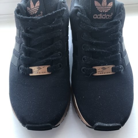 check out 6dcfc 89b54  charlottefordyce. 4 months ago. Northampton, United Kingdom. Rose Gold and  Black Adidas ZX Flux ...