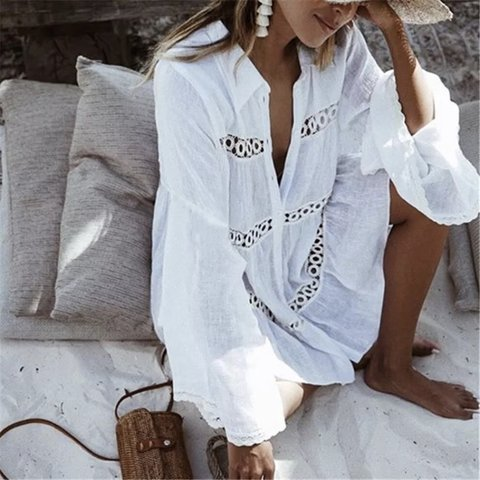 5626adf0b5e44 Gorgeous white Oversized beach shirt available to order now - Depop