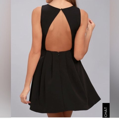6b256888b4f Lulus Black Backless Skater Dress with side cut-outs. knit a - Depop