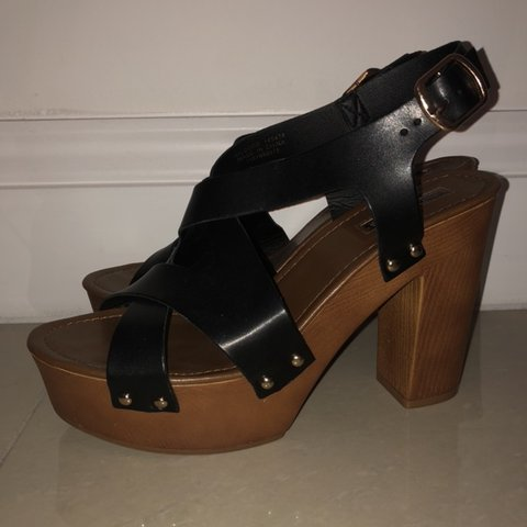 70ea8b7ff @kayand8. 4 months ago. Canvey Island, United Kingdom. Black leather wooden  strap primark block heeled sandals!
