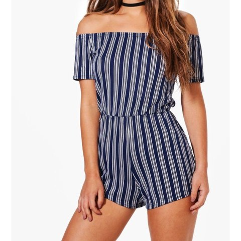 c77c117dbae BOOHOO off-shoulder playsuit Perfect condition Size  for - Depop