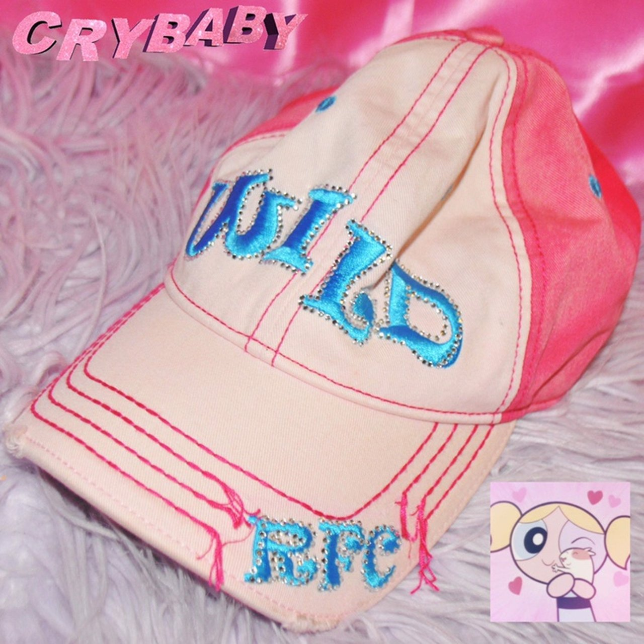 """d141f1b469480b 💕90s Cute """"Wild"""" Pink Sparkly Hat💕 This adorable hat adds - Depop"""