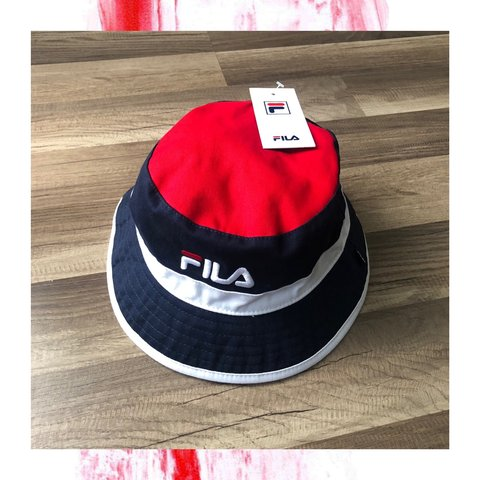 98dfba5a560bb FILA bucket hat NWT Colorway Navy Blue   Red   White Free I - Depop